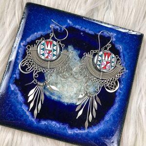 Vintage Navaho Aztec Boho Dangle Earrings